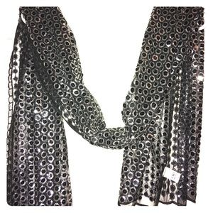 Black with Silver sequins scarf